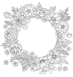 Doodle flowers round vector