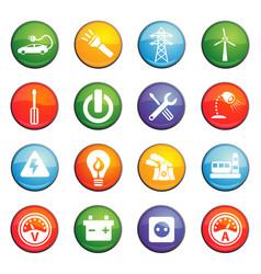 Electricity icon set vector