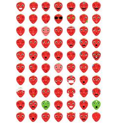 Emoticons strawberry vector