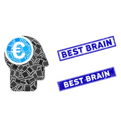 euro mind mosaic and scratched rectangle best vector image