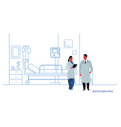 female male doctors in uniform discussing hospital vector image