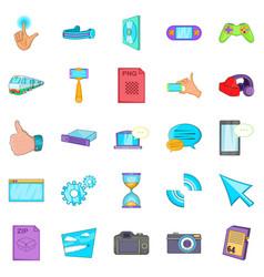 file sharing icons set cartoon style vector image