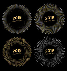 four inscription happy new year 2019 with firework vector image