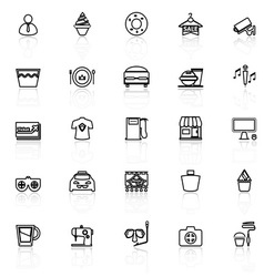 Franchisee business line icons with reflect on vector image