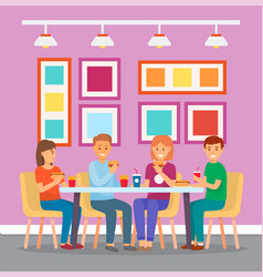 friends eating in a cafe or mcdonalds fast food vector image