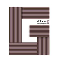 G - unique alphabet design with basketry pattern vector