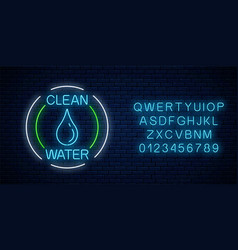 glowing neon sign clean water with water drop vector image