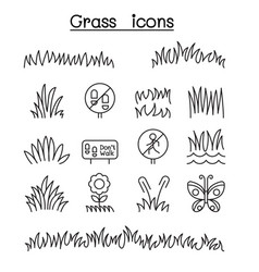 Grass icon set in thin line style vector