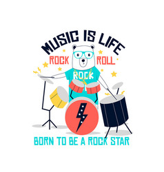 hand drawing rock and roll elements and bear vector image
