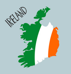 hand drawn stylized map ireland with flag vector image