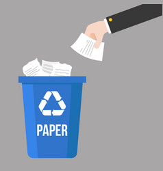Hand thrown paper waste and colorful recycle bin vector
