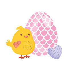 happy easter chicken with egg and heart decoration vector image