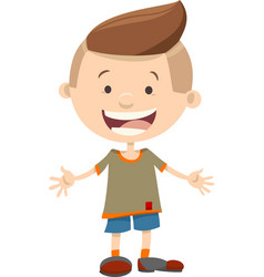 Happy kid boy cartoon character vector