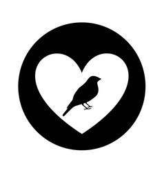 heart romantic with bird vector image