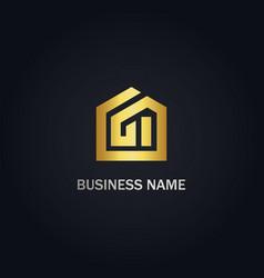 Home realty building gold logo vector