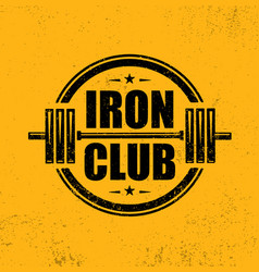Iron club gym workout barbell stamp design vector