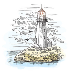 island with rocks and lighthouse building vector image