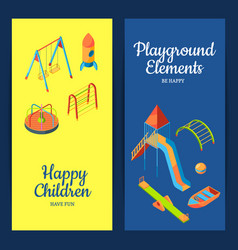 Isometric playground objects web banners vector