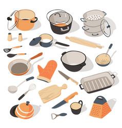 Kitchenware and dishes for kitchen set of vector