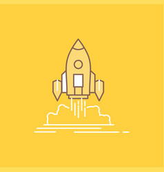 launch mission shuttle startup publish flat line vector image
