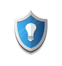 light bulb on shield icon protection and security vector image