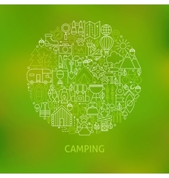 Line Camping Icons Circle Concept vector