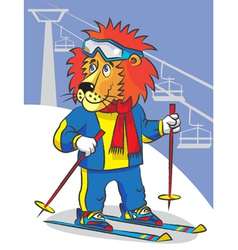 Lion is mountain skier vector