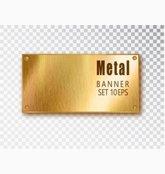 metal gold banners realistic metal brushed vector image