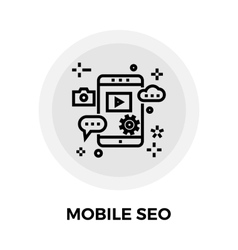 Mobile SEO Line Icon vector