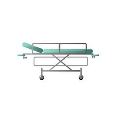 Modern adjustable medical hospital bed with green vector