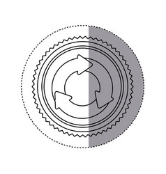 Monochrome contour sticker with circular recycling vector
