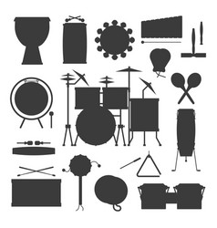 Musical drum silhouette wood rhythm music vector
