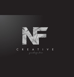 Nf n f letter logo with zebra lines texture vector