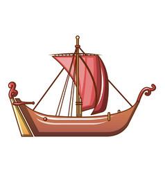 pirate ship icon cartoon style vector image