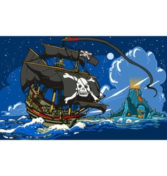 Pirateaposs Ship Sailing to the Skull Island vector