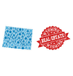 Real estate composition of mosaic map of wyoming vector