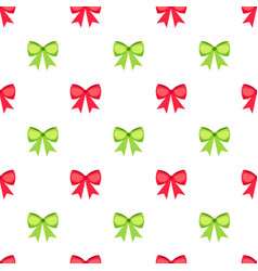 Red and green bows seamless pattern vector