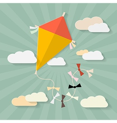 Retro Paper Kite on Sky with Clouds vector image