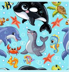 Seamless pattern cute cartoon water animals vector