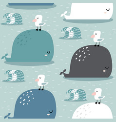 seamless pattern with whale and gull childish vector image