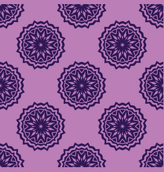 seamless purple floral mandala pattern vector image