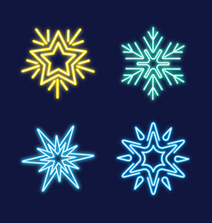 set neon snowflakes vector image