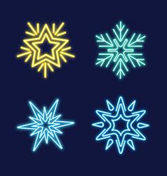 set of neon snowflakes vector image