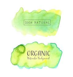 Set of watercolor green organic logo vector