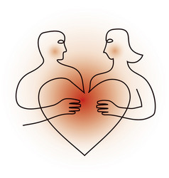 shy young coupleline art symbol with heart vector image