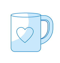 Silhouette cup to drink with heart design vector