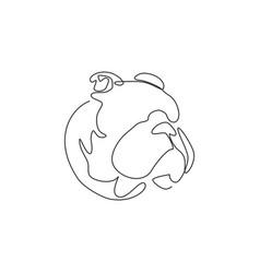 single continuous line drawing fierce bulldog vector image