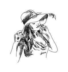 sketch a girl in a hat vector image