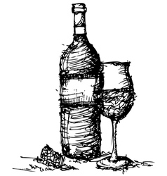 sketch drawing of wine bottle and glass vector image