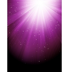 Snow and stars are falling on purple rays EPS 8 vector image
